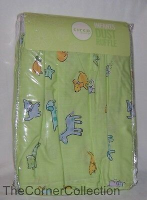 Circo (Target ) Crib Dust Ruffle Bed Skirt Cat Dog Butterfly Bee Print on Green