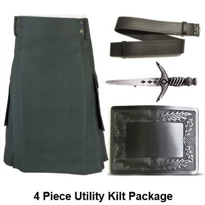 Mens 4 Piece Green Utility Kilt Package inc Antique Scottish Thistle Kilt Buckle