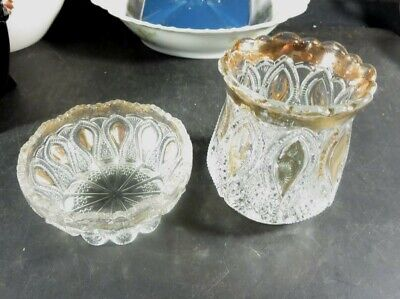 2 Vintage Pressed Glass Pieces Gold Decoated
