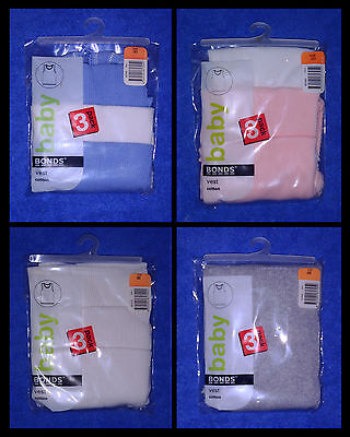 BONDS Baby 3 Pack COTTON Vest Singlets Sizes 000/00/0/1/2
