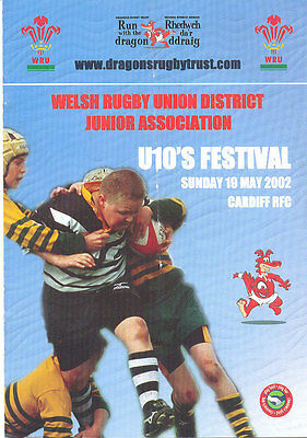WALES RUGBY UNION DISTRICT 2002 JUNIOR ASSOCIATION UNDER 10s FESTIVAL RUGBY PROG