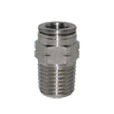 """5/32"""" OD x 1/8"""" NPT Stainless Steel Push To Connect Tube Fitting Male Straight"""