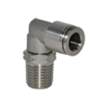 5/16 OD x 1/4 NPT Stainless Steel Push To Connect Tube Fitting Male Swivel Elbow