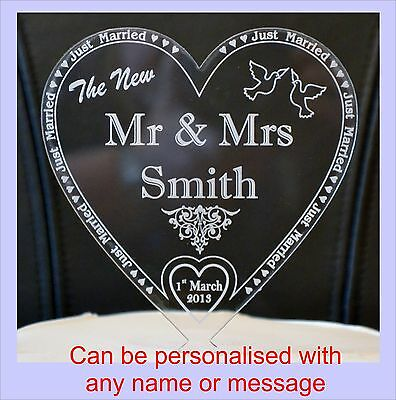 New MR & MRS Personalised in colour mirror acrylics heart Wedding cake Toppers