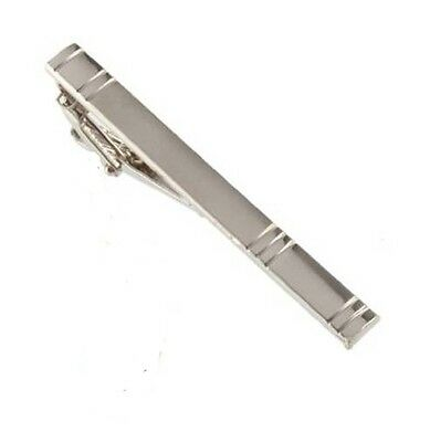 Silver Tone Metal Tie Clip Holder Clasp 60mm Mens Bar Pin New