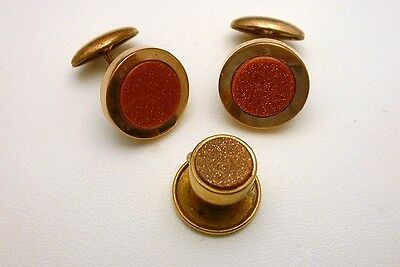 Victorian Cuff Links Cufflinks Collar Button Goldstone Inserts Vintage