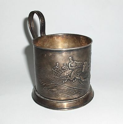Vintage Antique Russian Silverplate Melkhior Tea Glass Cup Holder Troika Horses