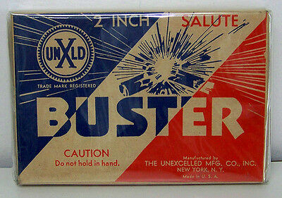 """1920-30s TWO INCH """"BUSTER"""" SALUTES BOX - UNEXCELLED CO. N.Y. - EXCELLENT"""