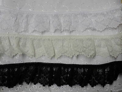 Gathered Frilled Lace Trim Dove Craft 15mm White Pale Ivory or Black DC12901F