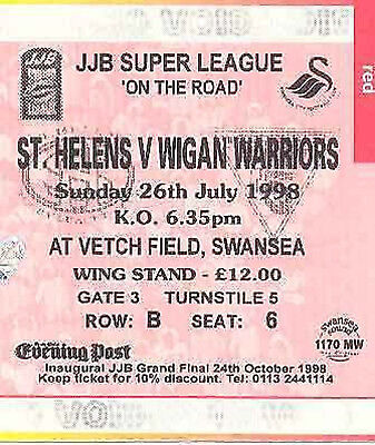 St HELENS v WIGAN WARRIORS 26 Jul 1998 RUGBY LEAGUE TICKET, SWANSEA