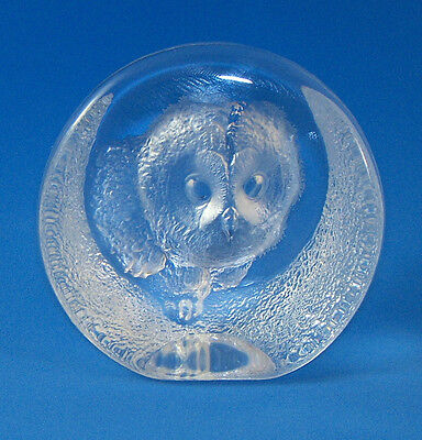 Mats Jonasson Lead Crystal OWLET PAPERWEIGHT Sweden Swedish Art Glass Owl Signed