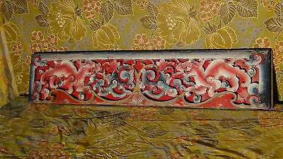 """Antique 19C Chinese Wood Handcarved, Painted Temple Large Dragons Plaque 2""""Thick"""