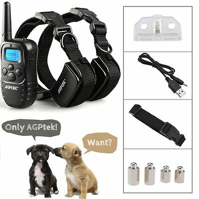 Rechargeable LCD 100LV Level Shock Vibra Remote 2 Dog Training Collar
