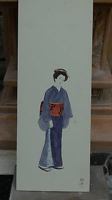 """Antique Japanese Watercolor On Paper""""girl In Purple Kimono"""" Artist Sign And Seal"""