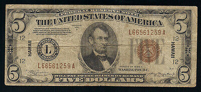 "1934-A $5 FEDERAL RESERVE NOTE BROWN SEAL ""HAWAII"" CURRENCY NOTE"