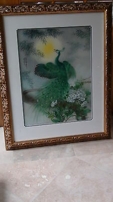 Antique Chinese Original Watercolor Painting Peacock And Peony Flowers Signed
