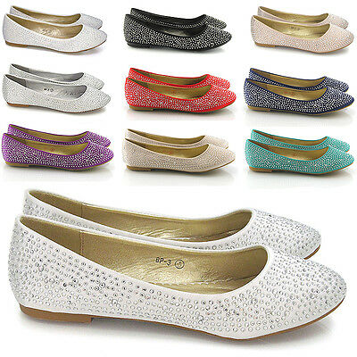 Womens Brial Diamante Shoes Ladies Sparkly Slip On Bridesmaid Pumps Size 3-9