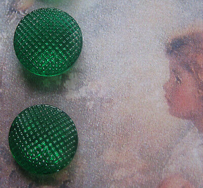 "Set of 4~Vintage 1/2"" Green Waffle Glass Doll Buttons ~new/old stock"
