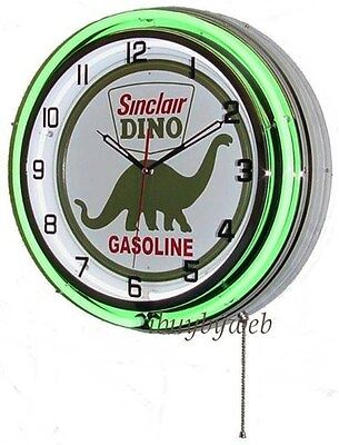 "18"" Green Sinclair Dino Double Neon Retro Wall Clock Oil Gas Station Sign NEW"