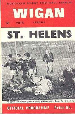 WIGAN v St HELENS 4 Apr 1969 RUGBY LEAGUE PROGRAMME