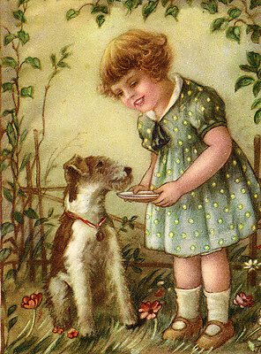 Wire Fox Terrier Charming Dog Greetings Note Card Dog And Little Girl