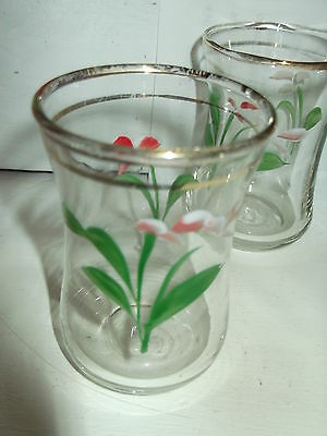 4 Vintage Liqour  Glasses Gold Trim Pink And Green Flowers 6.5Cm High Shabby