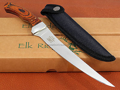 Elk Ridge Fillet Knife 12 inch Fixed Blade Wood Handle Full Tang Fishing ER028