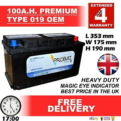 019 Car / Van Battery Extra Duty 100 Amp / Ah 920 CCA 3 Year Guarantee 24HR DEL