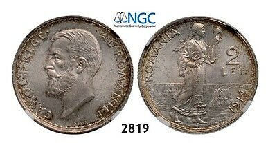 PegasusAuctions_com: 2819. Romania, Carol I, 2 Lei 1914, Brussels, NGC MS63