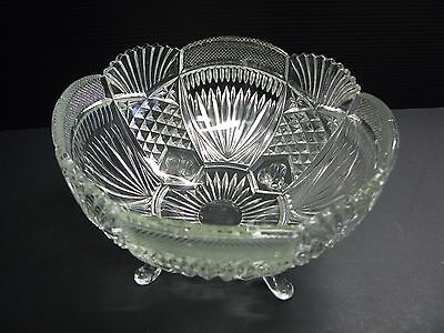 Large Vintage Cut Glass Four Footed Pineapple Designed Bowl