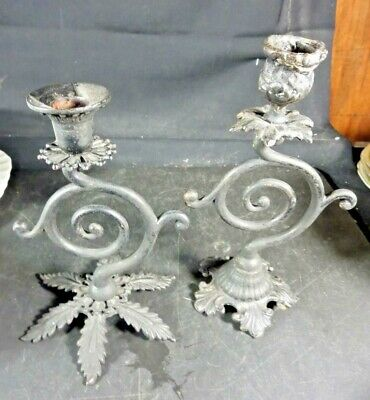 Vintage Pair Iron Candle Holders Unknown