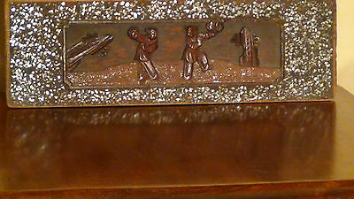 """Antique 19C Chinese Rosewood Handcarved Gilded Panel""""landscaping Scene With Boys"""