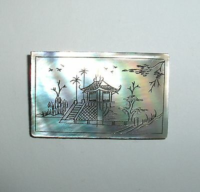 Antique China Chinese Hand Carved Landscape On Mother Of Pearl Pin Brooch