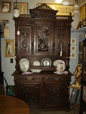 1880 French Renaissance Louis XV Carved Quarter-Oak Sideboard Buffet.Huntboard
