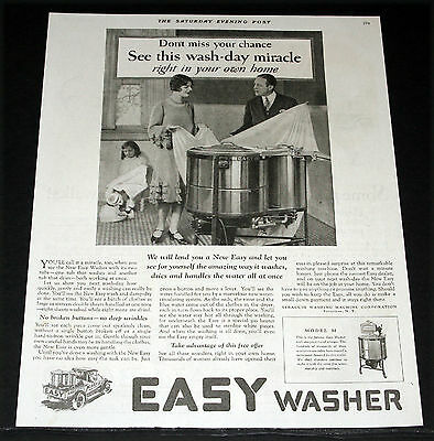 1927 Old Magazine Print Ad, Easy Washer, See The Wash-Day Miracle In Your Home!