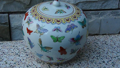 Antique Early 20C Chinese   Covered Butterfly Jar #1