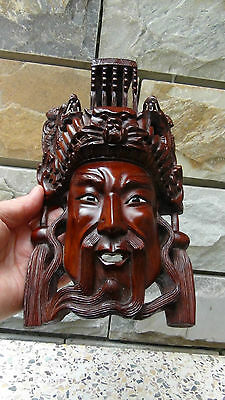 ANTIQUE 19C CHINESE ROSEWOOD HAND CARVED MASK OF IMPEROR WITH THE DRAGONS  #1