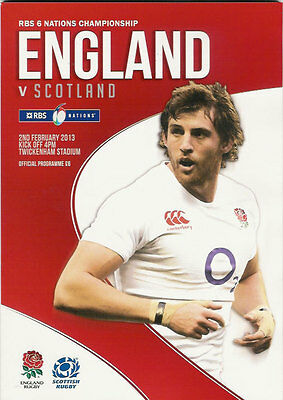 ENGLAND v SCOTLAND 2 Feb 2013 RUGBY PROGRAMME at TWICKENHAM