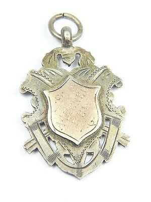 LOVELY ANTIQUE VICTORIAN ENGLISH SILVER GOLD FOB MEDAL 'A DISNEY' c1904