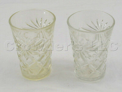 Lot of 2 Decorative Pressed Glass Cups Ornate Looking 4 1/4 inch glasses