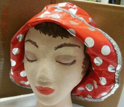 NWT Red Silver Bucket Rain Hat Dance Theatrical Dotted 1 sze fits child adult