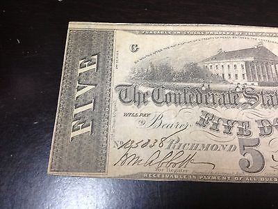1862 $5 Confederate States Of America Large Note!!!!