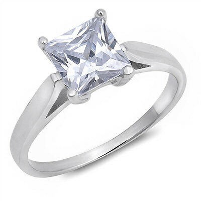 1CT PRINCESS CUT BEAUTIFUL CZ ENGAGEMENT .925 Sterling Silver Ring Sizes 5-10