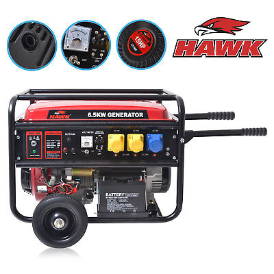 ELECTRIC START 8.2kVA 6.5kW 4 STROKE PETROL GENERATOR CATERING GARAGE 230v 110V