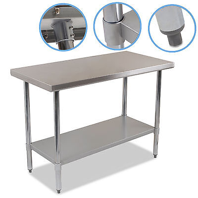 "STAINLESS STEEL 48"" x 24"" COMMERCIAL INDUSTRIAL FOOD PREP TABLE WORKTOP BENCH"