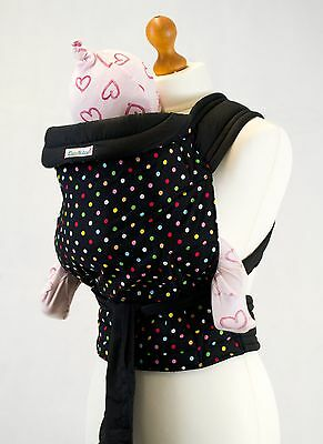 Palm & Pond Soft Mei Tai Black Baby Sling Carrier  - Multi Polka Dot Pattern