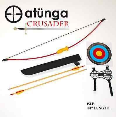 NEW Kids CRUSADER 15lb MED Longbow Archery Set Target Atunga Bow sport medieval