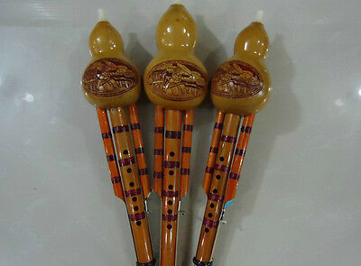 Beginners Bamboo Hulusi Handmade Chinese Ethnic Gourd Flute Hand Carved HLS001