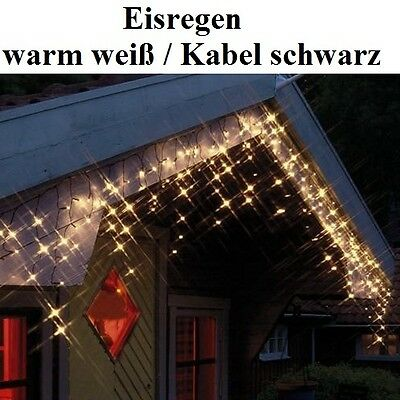 LED Eisregen Lichterkette 144er warm weiß / schwarz Best Season 498-56