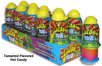 Lucas Pelucas Tamarind flavor hot candy push up 10pc box mexican candy dulce